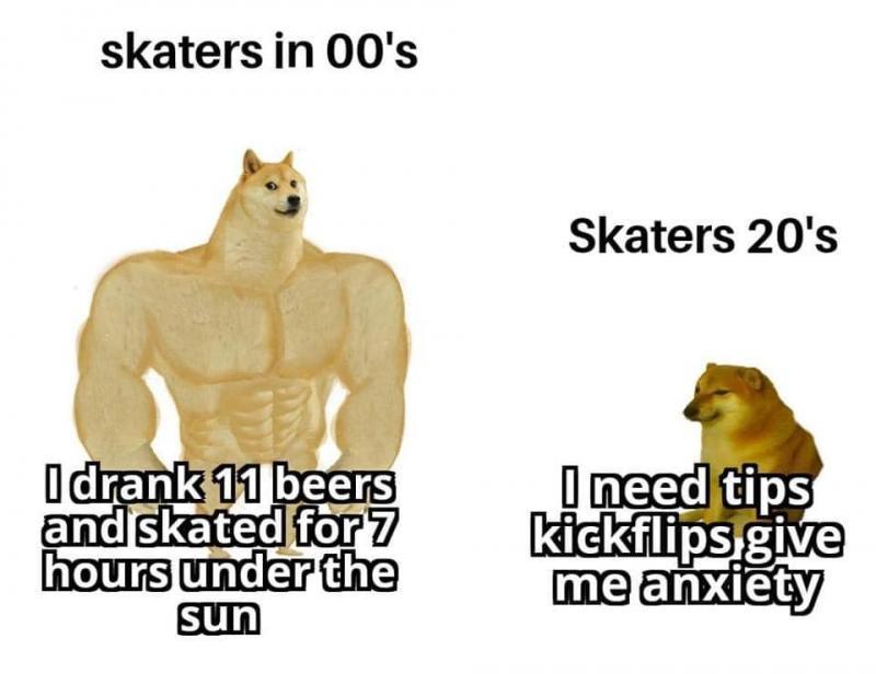Skaters in 00's vs Skaters 20's meme