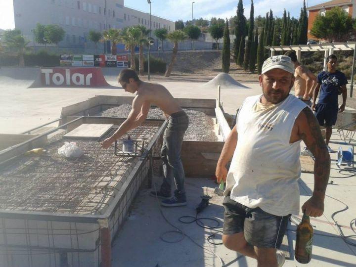 Construcción cajones skatepark La Cruz, Totana, Murcia